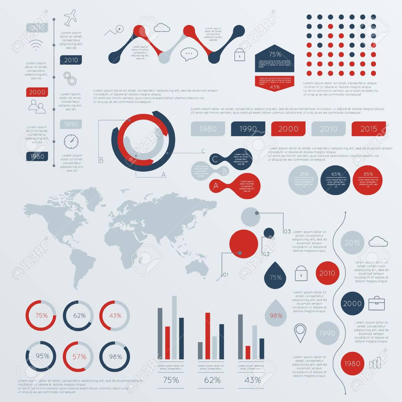 Set Von Infografik Timeline-Design-Vorlagen. Charts, Diagramme Und ...