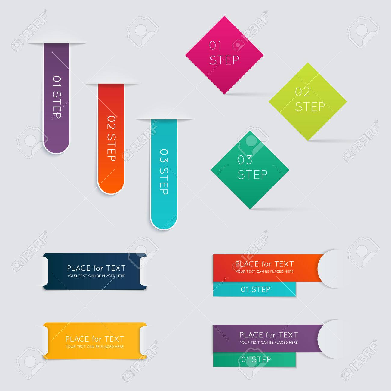 Set of colorful text box with steps, trendy colors. - 36766603