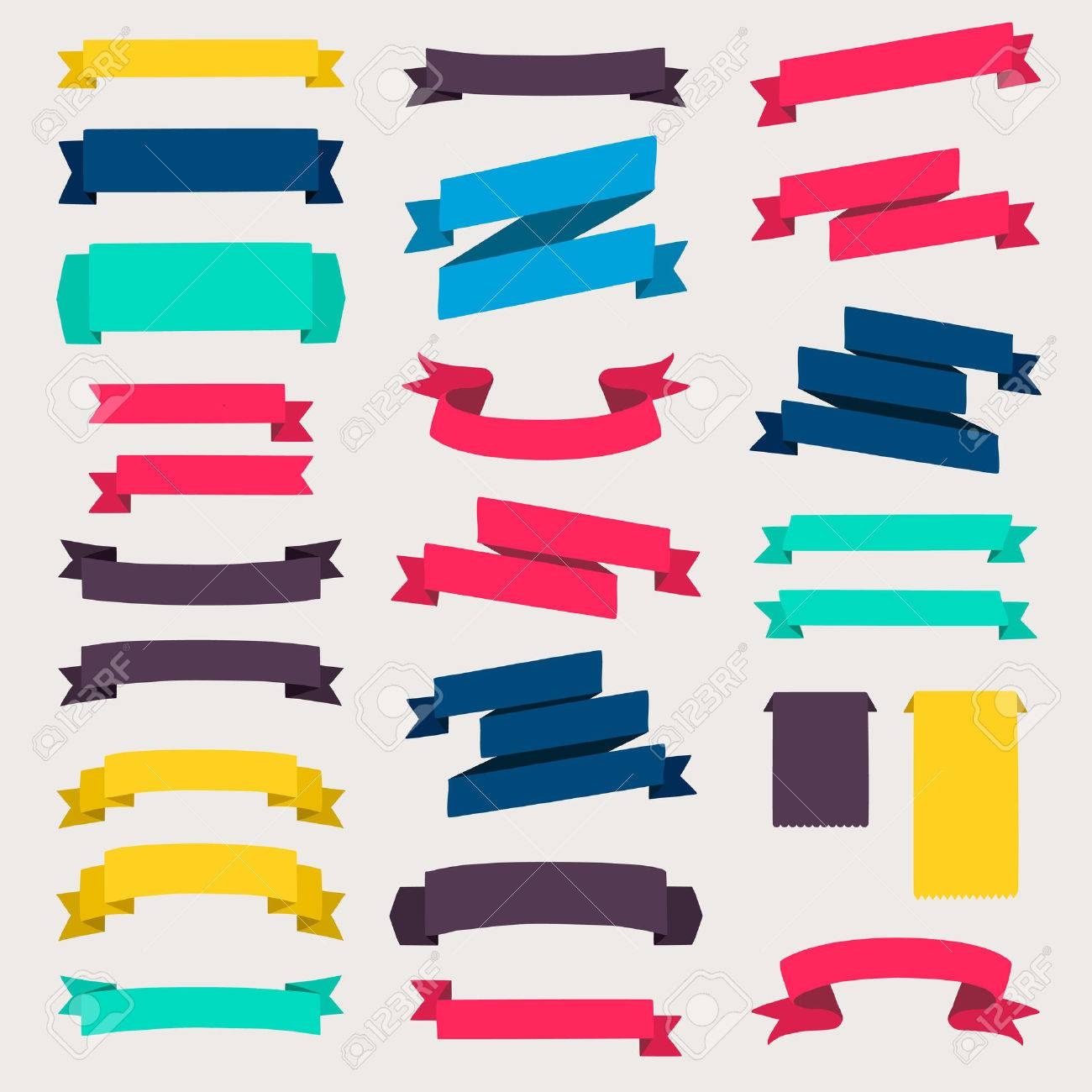 Set of design elements banners ribbons. - 36766546