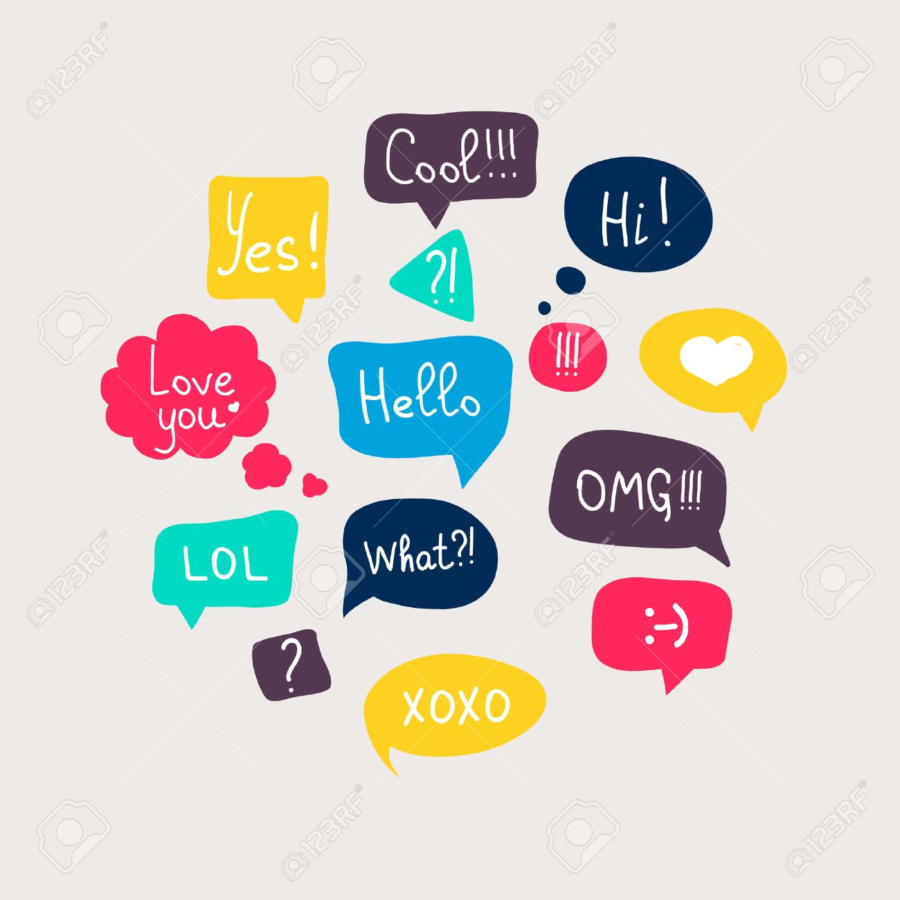Colorful questions speech bubbles set in flat design with short messages. - 36766699