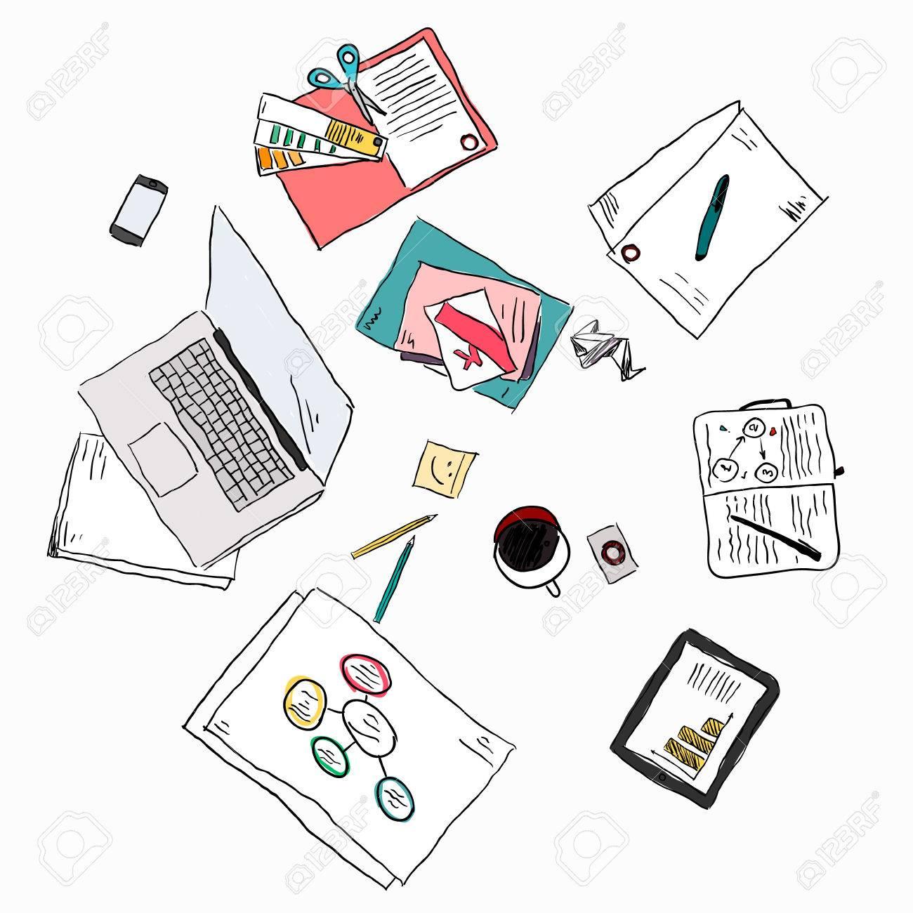 Business meeting concept top view people hands sketch - 36765795