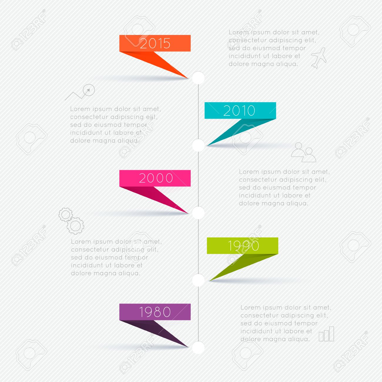 Timeline Infographic Design Templates. Charts, Diagrams and other Vector Elements for Data and Statistics Presentation - 36765542