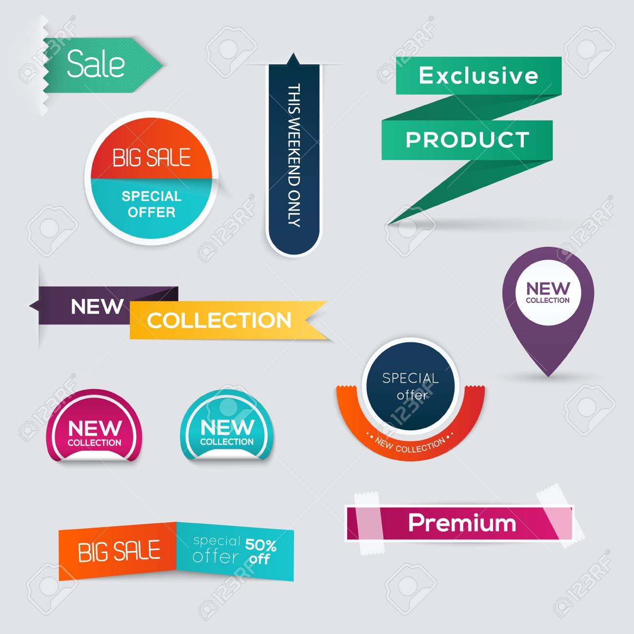 Collection of Sale Discount Styled origami Banners. - 36763355