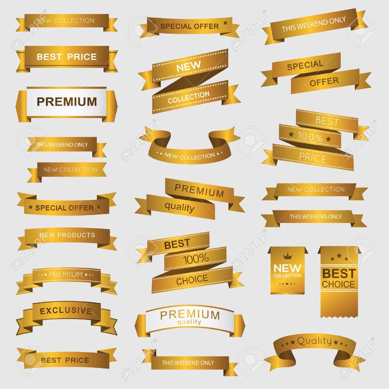 Collection of golden premium promo banners. isolated vector illustration - 37032690
