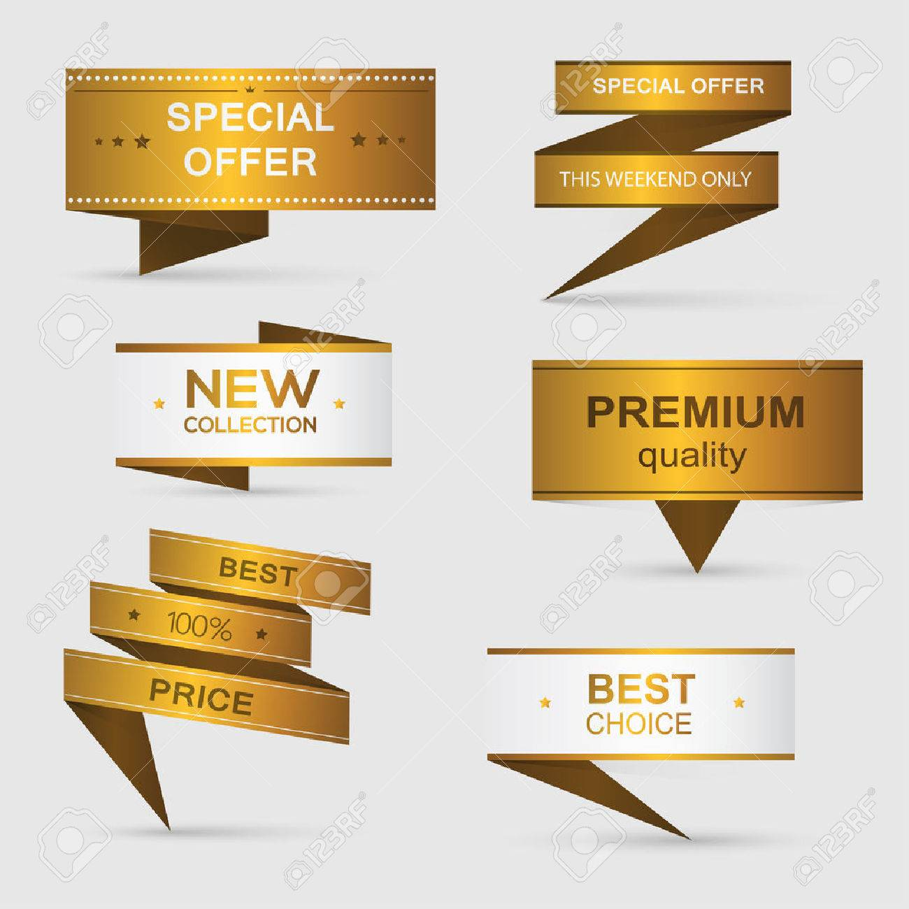 Collection of golden premium promo banners. isolated vector illustration - 37032723