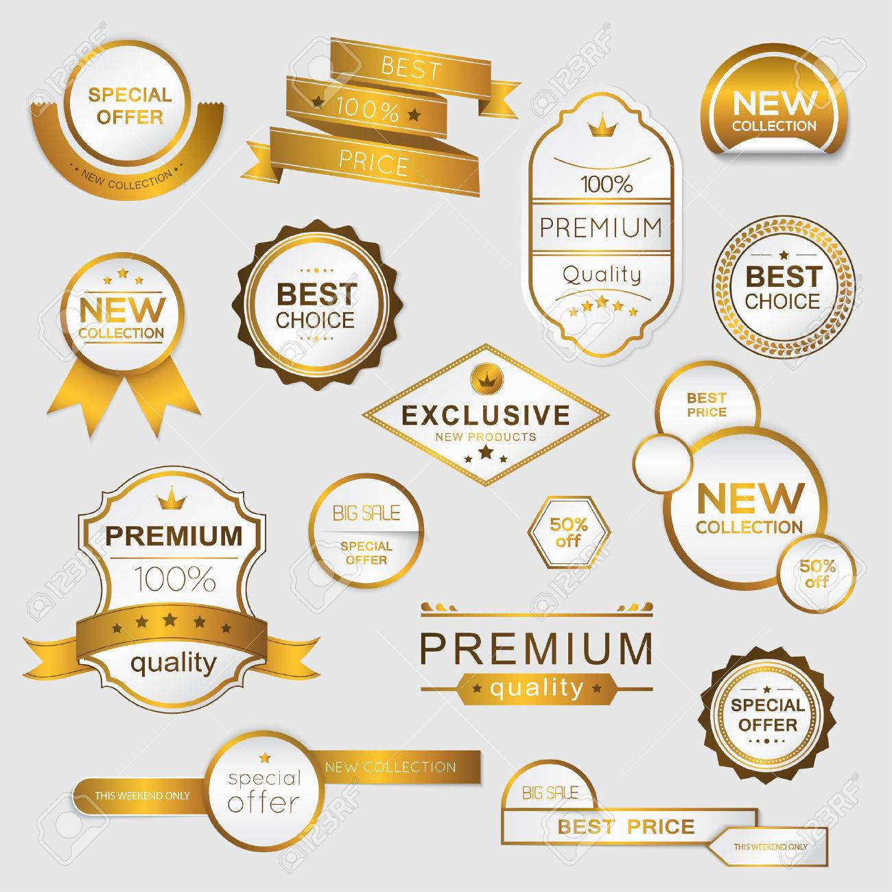 Collection of golden premium promo seals/stickers. isolated vector illustration - 37032741