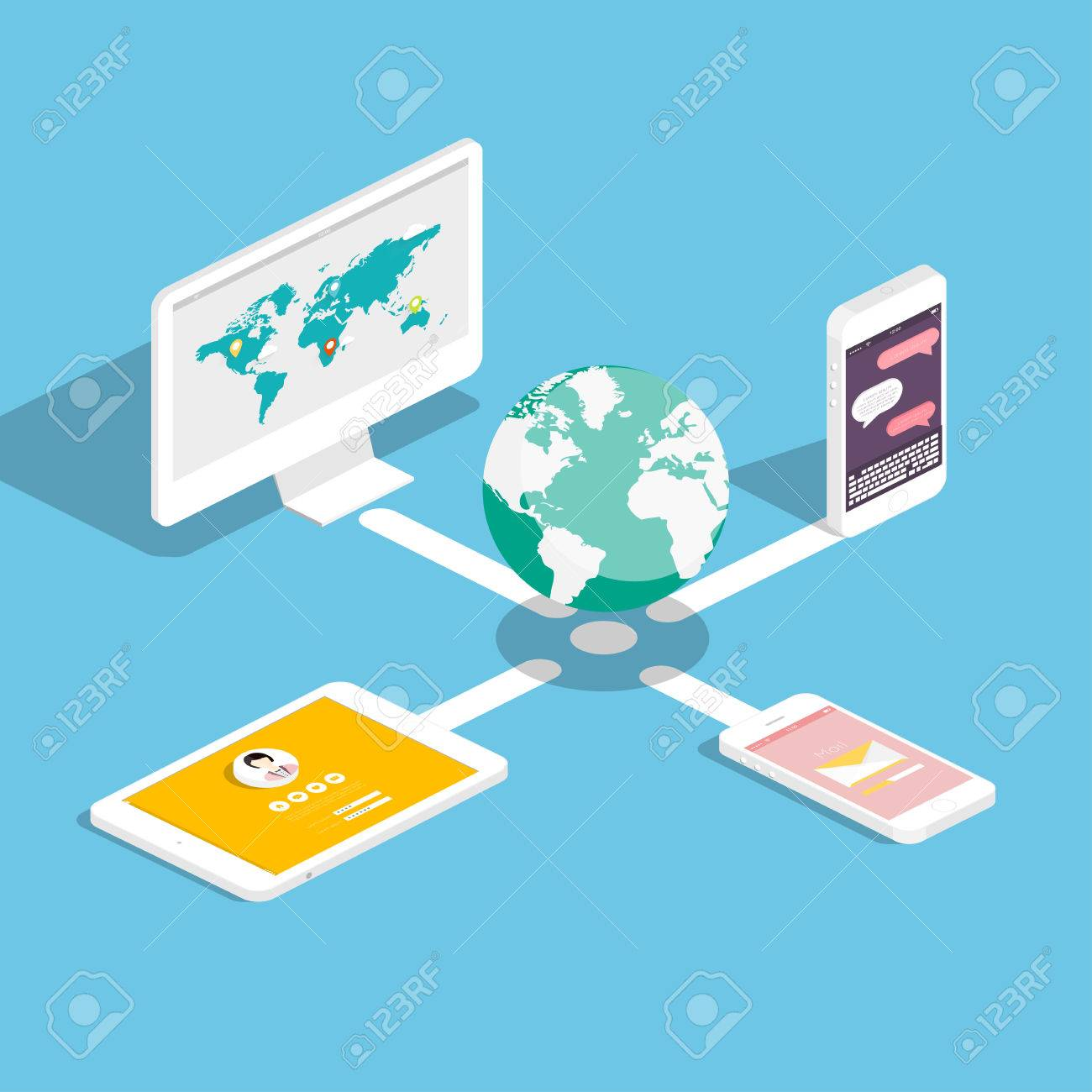Flat 3d isometric touchpad pc (tablet) with clouds and user interface development concept. Application and software, screen and phone. - 38418462