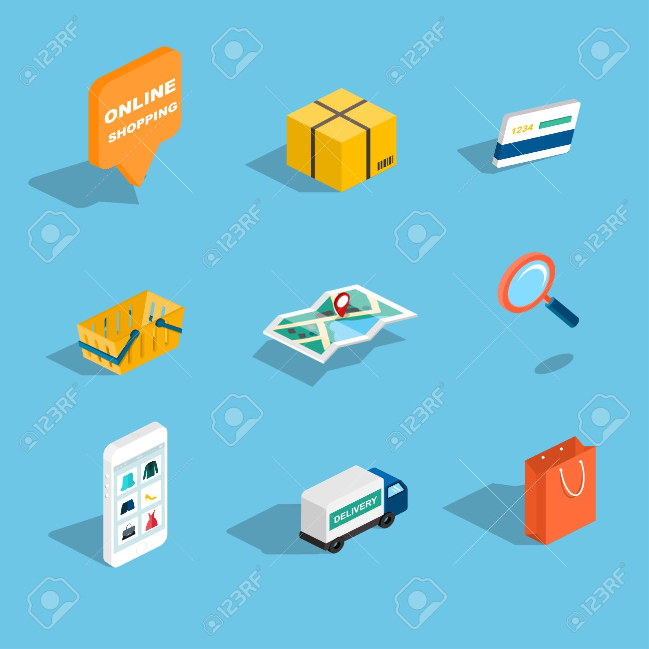 Set of sale and shopping flat 3d isometric icons. Vector illustration. - 38418457