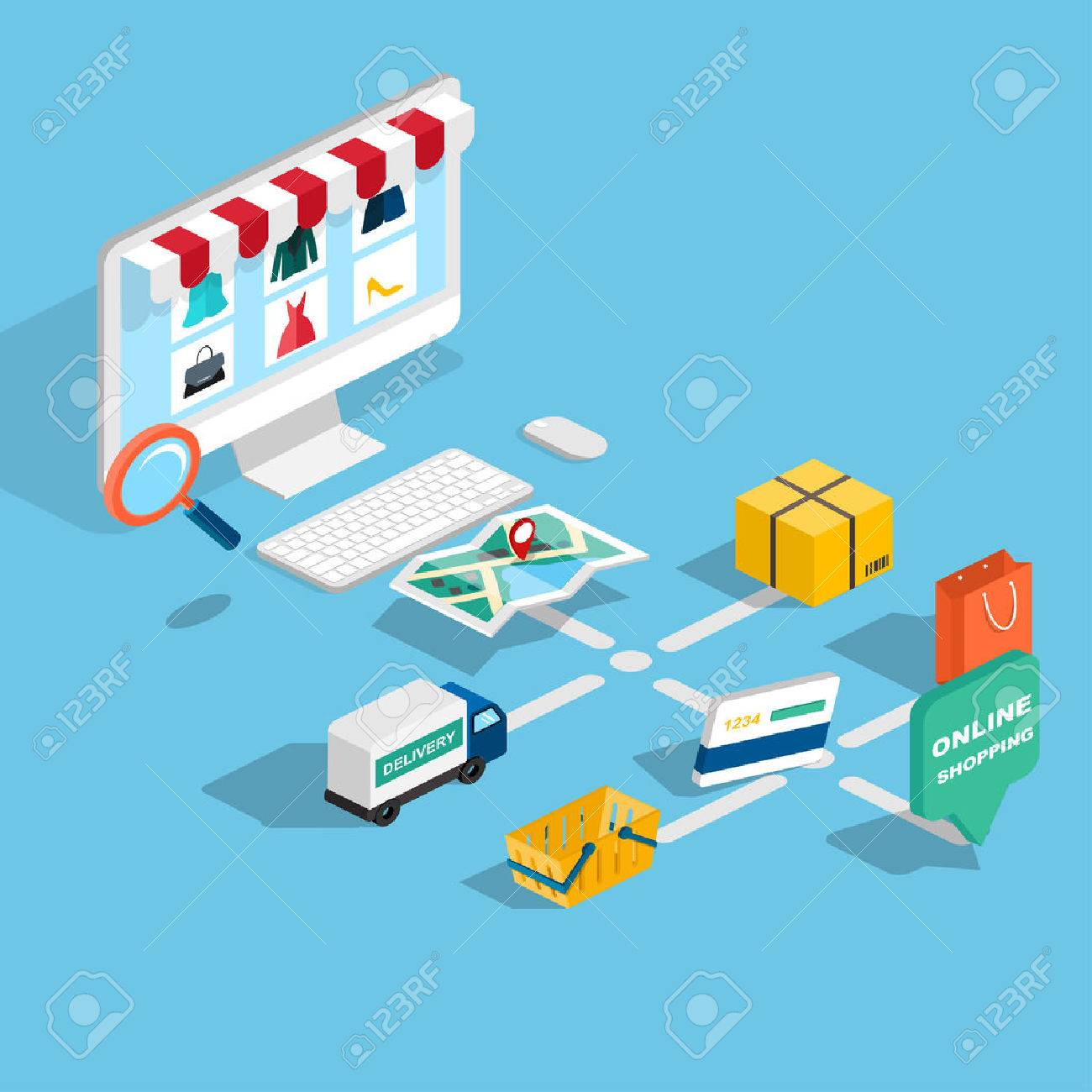 Flat 3d web isometric e-commerce, electronic business, online shopping, payment, delivery, shipping process, sales, black friday infographic concept vector. tablet buy button. - 38418877