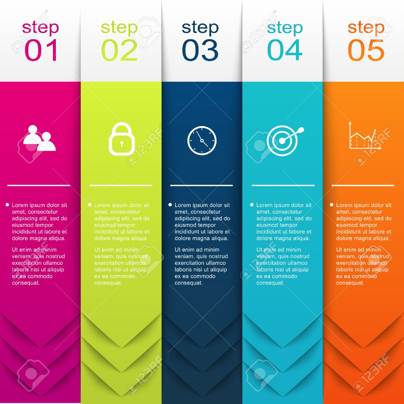 Vector colorful info graphics for your business presentations. Can be used for info graphics, graphic or website layout vector, numbered banners, diagram, horizontal cutout lines, web design. - 38418882