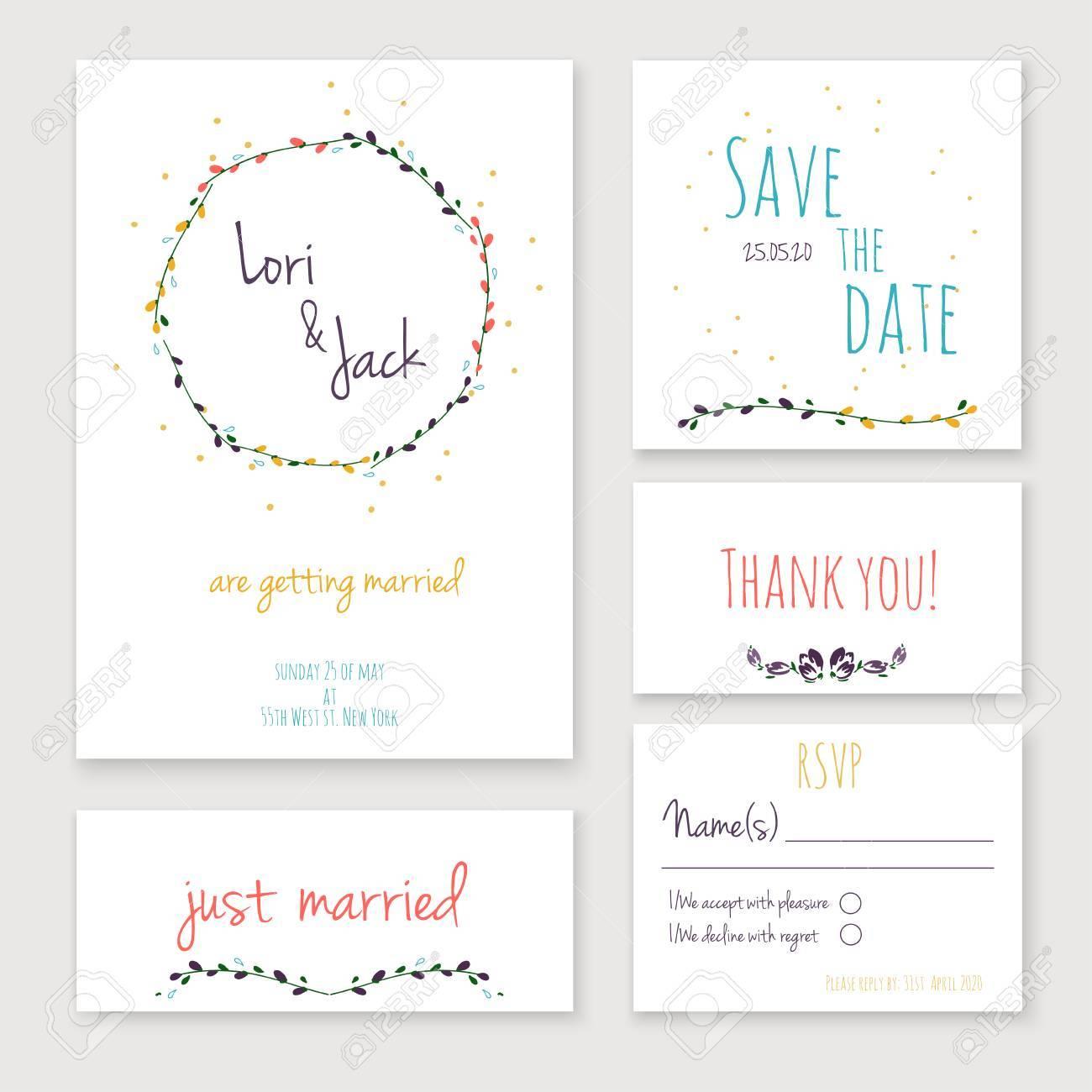 Hochzeitseinladungskarte Gesetzt Dankeschon Karte Retten Die