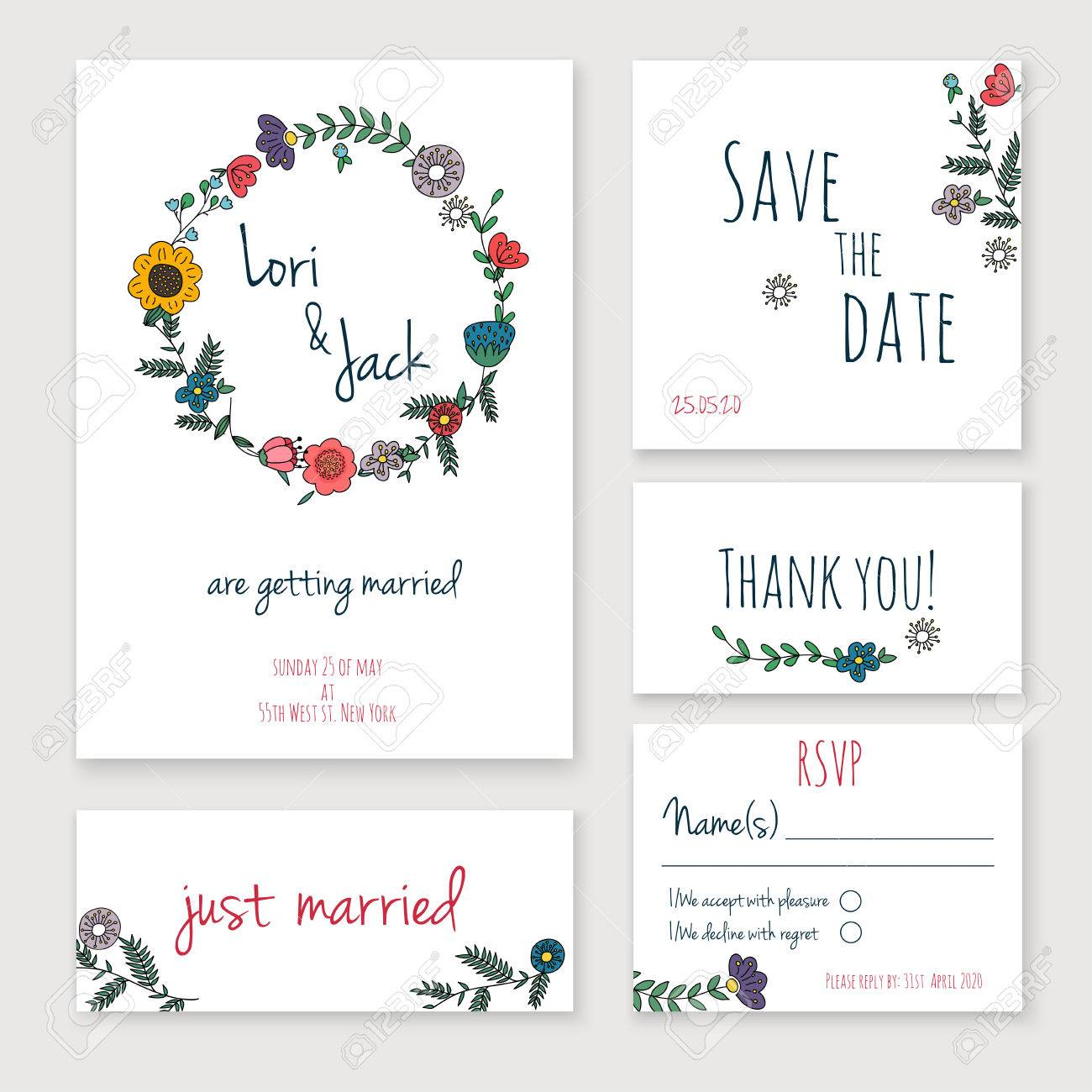 Wedding Invitation Card Set Thank You Save The Date Cards