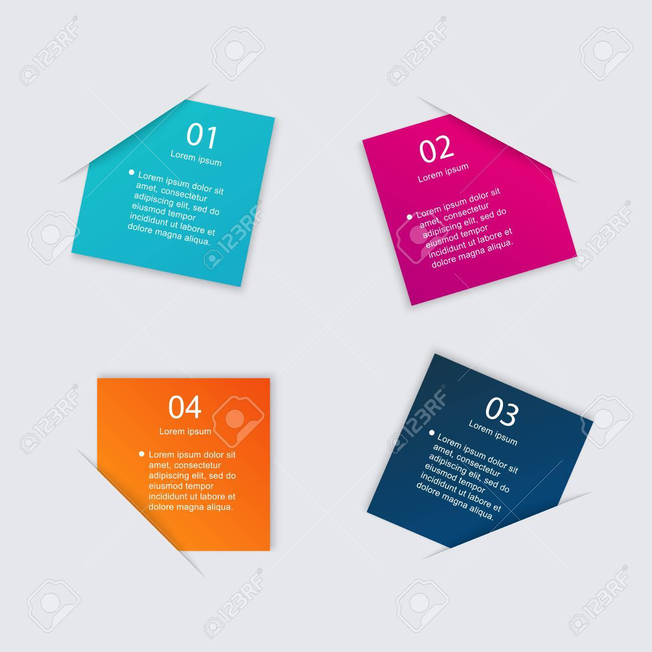 Set of colorful text box with steps, trendy colors. Vector illustration can be used for workflow layout, diagram, number options, web design. - 39593800