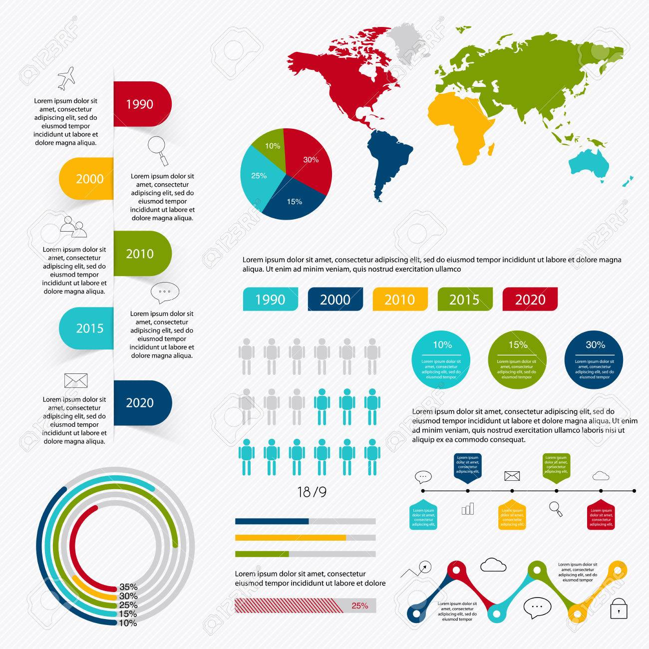 Business data market elements dot bar pie charts diagrams and graphs flat icons set. Can be used for info graphics, graphic or website layout vector, numbered banners, diagram. Vector illustration. - 40285091