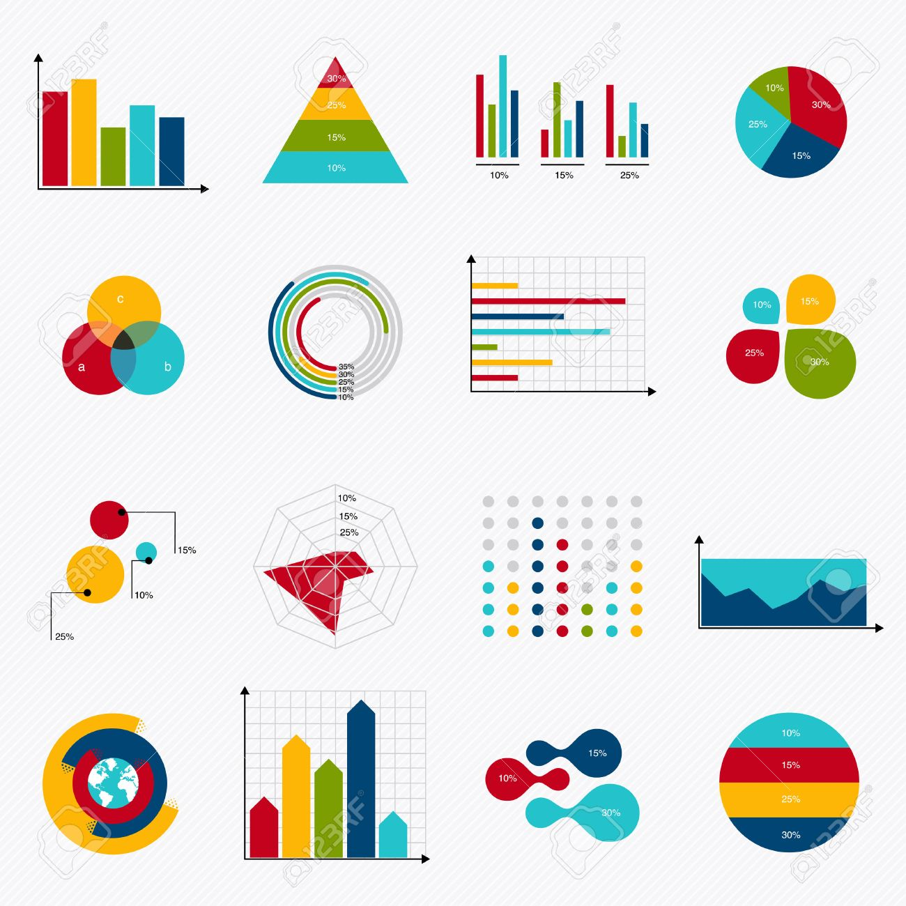 business data market elements dot bar pie charts diagrams and graphs flat  icons set  can be used for info graphics, graphic or website layout vector,