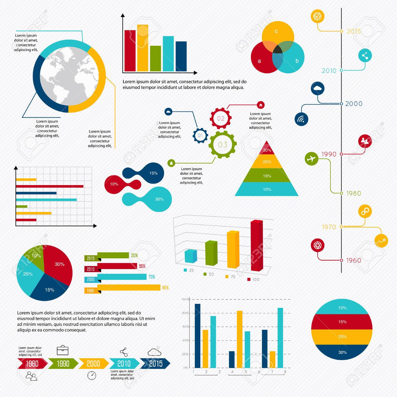 graphic business diagram collection stock vector illustration and    graphic business diagram collection  business data market elements dot bar pie charts diagrams and graphs