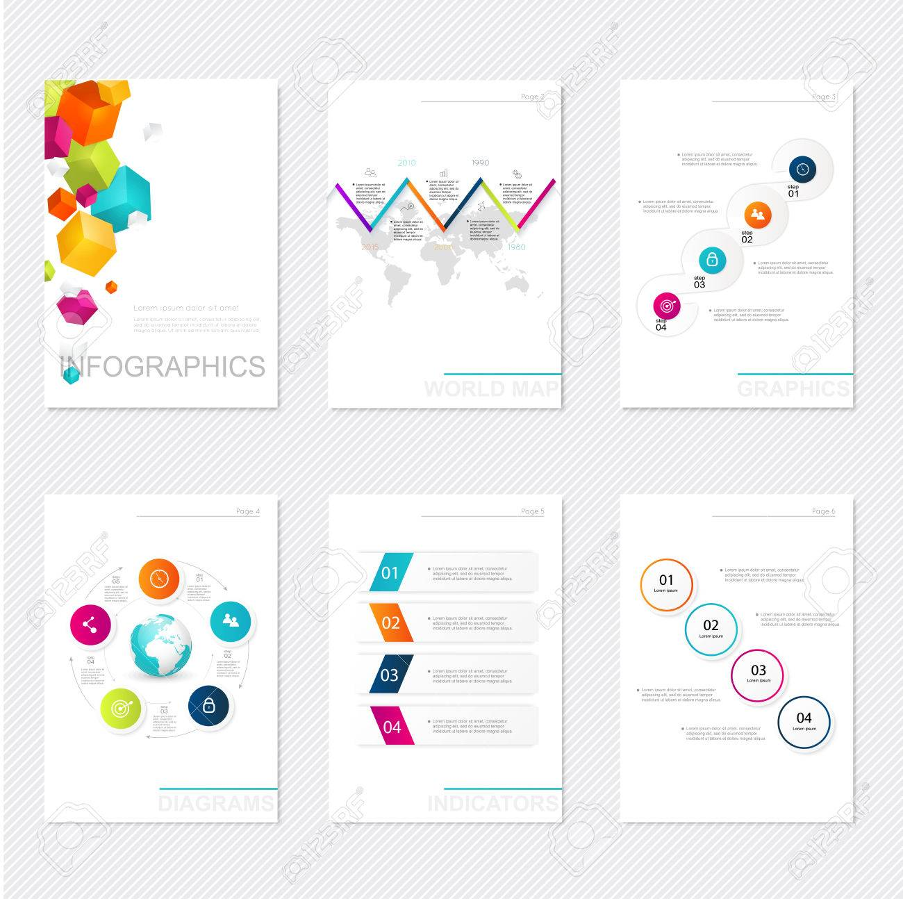 Set of infographics elements in modern flat business style. Can be used for info graphics, graphic or website layout vector, numbered banners, diagram, flyer, corporate report, marketing etc, web. - 41059125