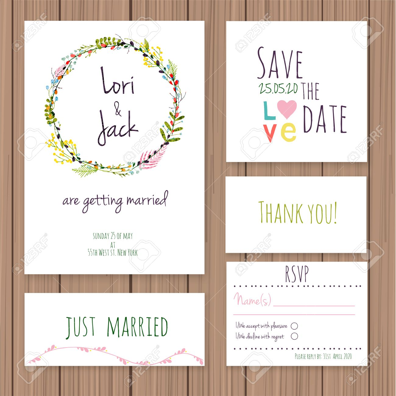 Wedding Invitation Card Set. Thank You Card, Save The Date Cards, RSVP Card