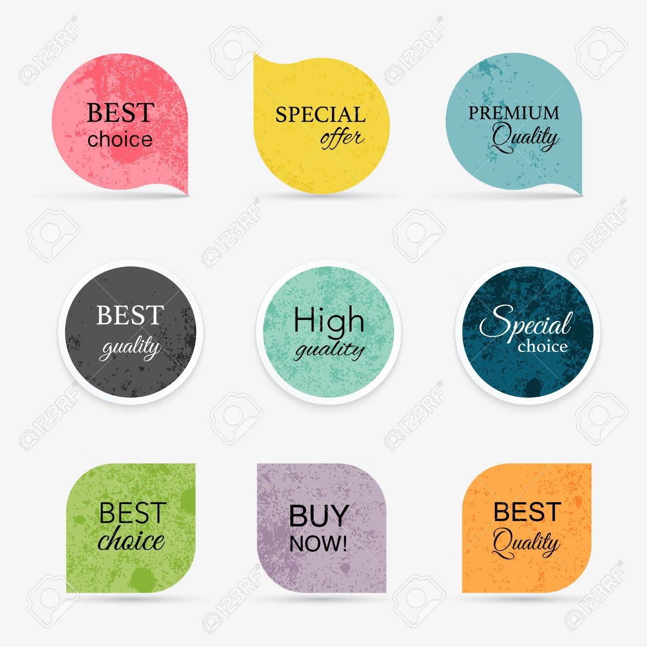 Collection of vintage promo seals/stickers. Isolated vector illustration - 41368879