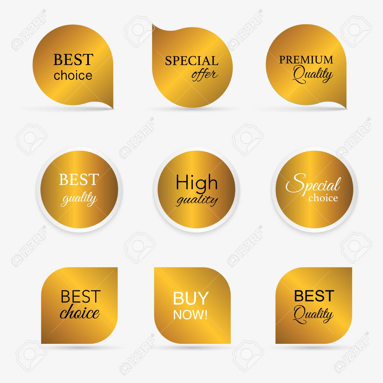 Collection of golden premium promo seals/stickers. isolated vector illustration - 41368883