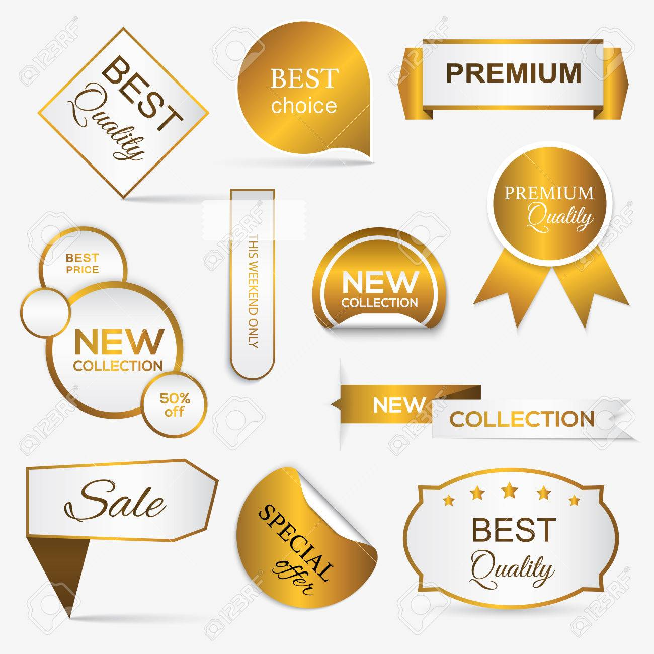 Collection of golden premium promo seals/stickers. isolated vector illustration - 41369013