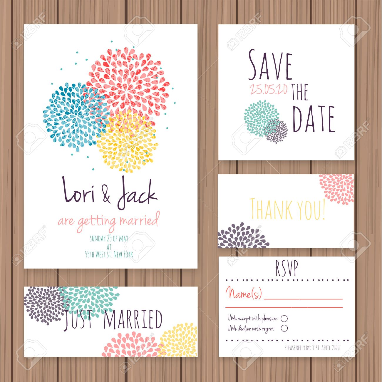 Wedding Invitation Card Set. Thank You Card, Save The Date Cards ...