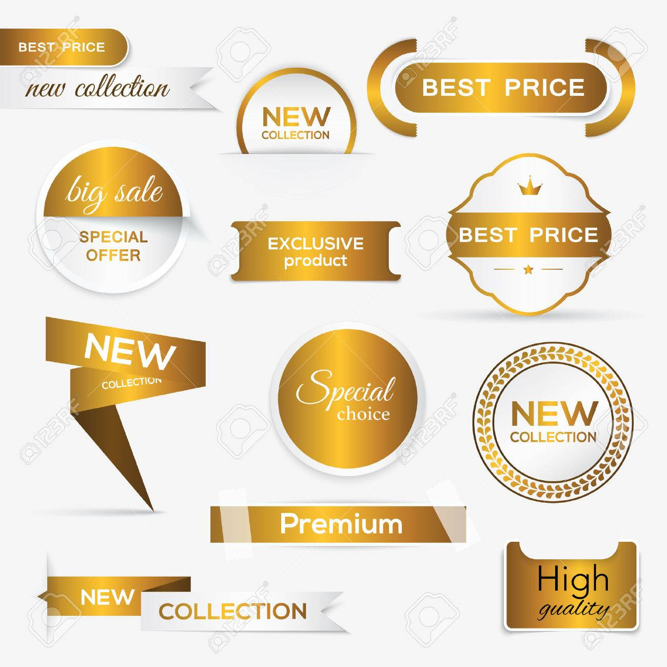 Collection of golden premium promo seals/stickers. isolated vector illustration - 41369025