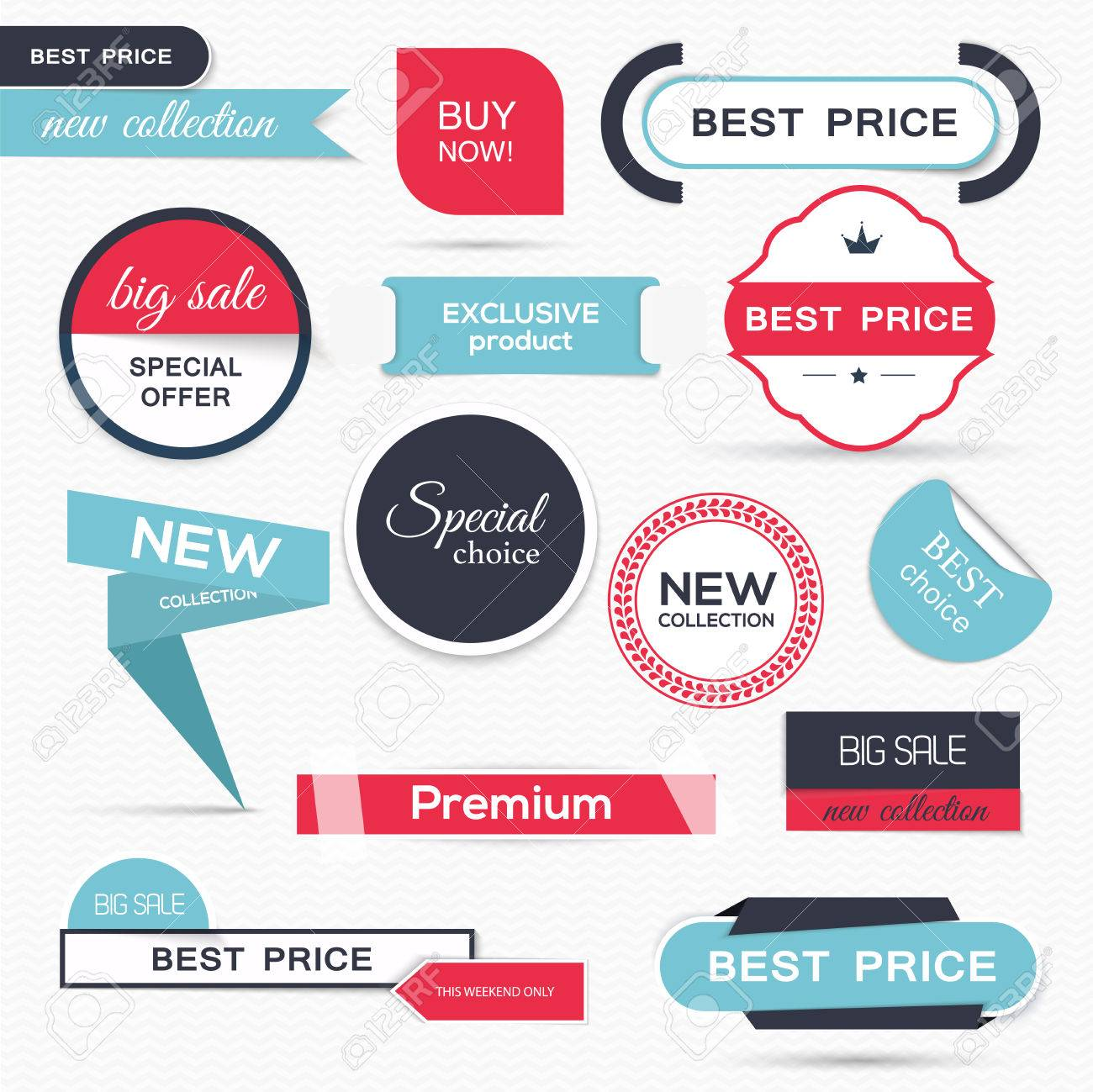 Collection of Sale Discount Styled origami Banners. Vector Illustration - 44490321