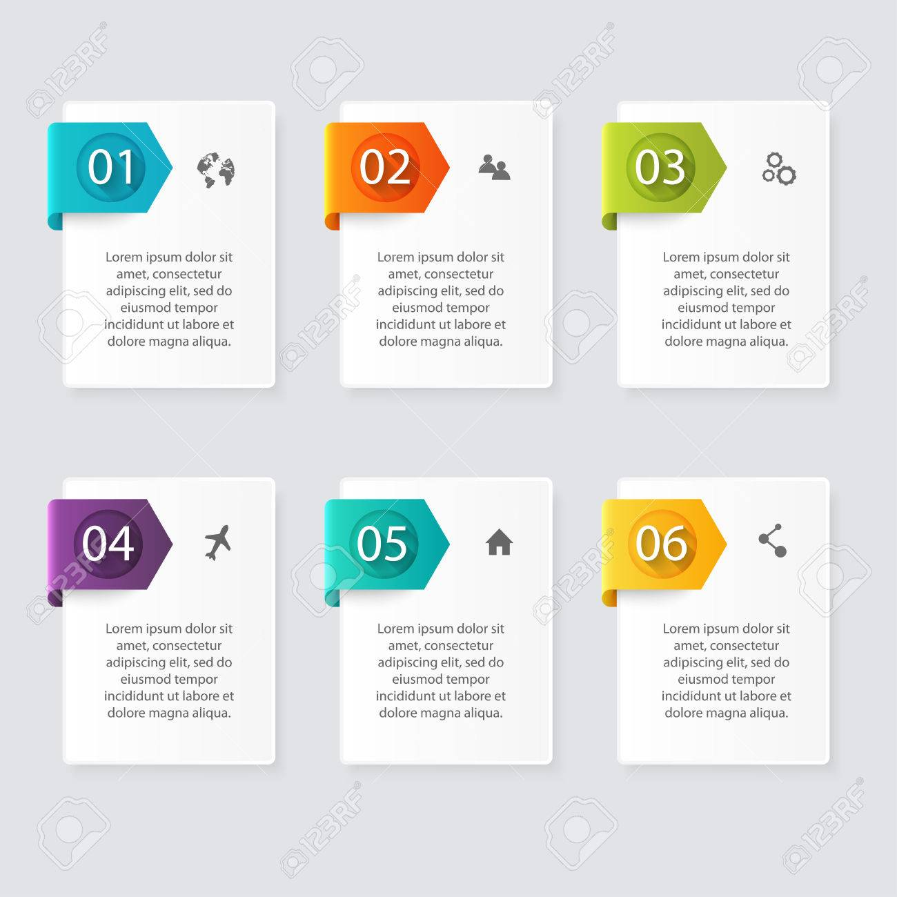 Vector colorful info graphics for your business presentations. Can be used for info graphics, graphic or website layout vector, numbered banners, diagram, horizontal cutout lines, web design. - 44490425