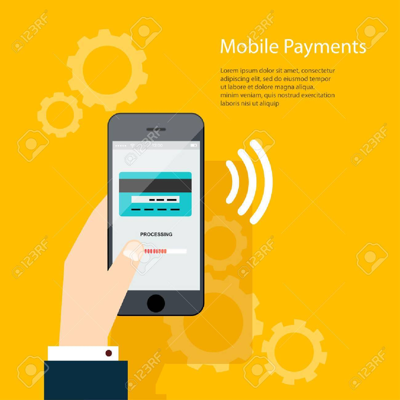 Mobile Payments. Man holding phone. Vector illustration of modern smartphone with processing of mobile payments from credit card on the screen. - 44490430