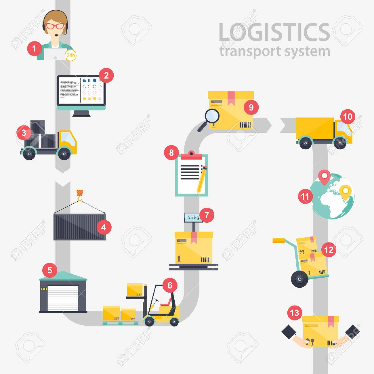 Logistic infographics. Set of flat warehouse icons logistic blank and transportation, storage vector illustration. - 44931767
