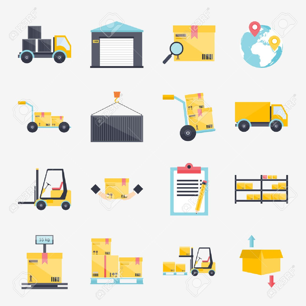 Set of flat warehouse icons logistic blank and transportation, storage vector illustration. Stock Vector - 44931850