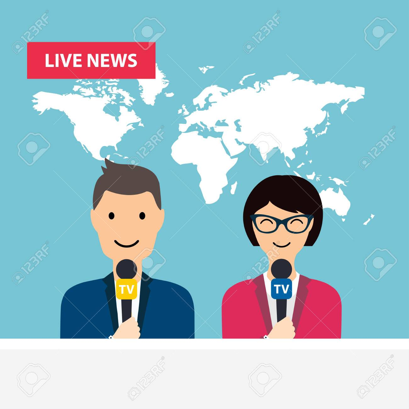 Female And Male TV Presenters Sit At The Table Live News Of