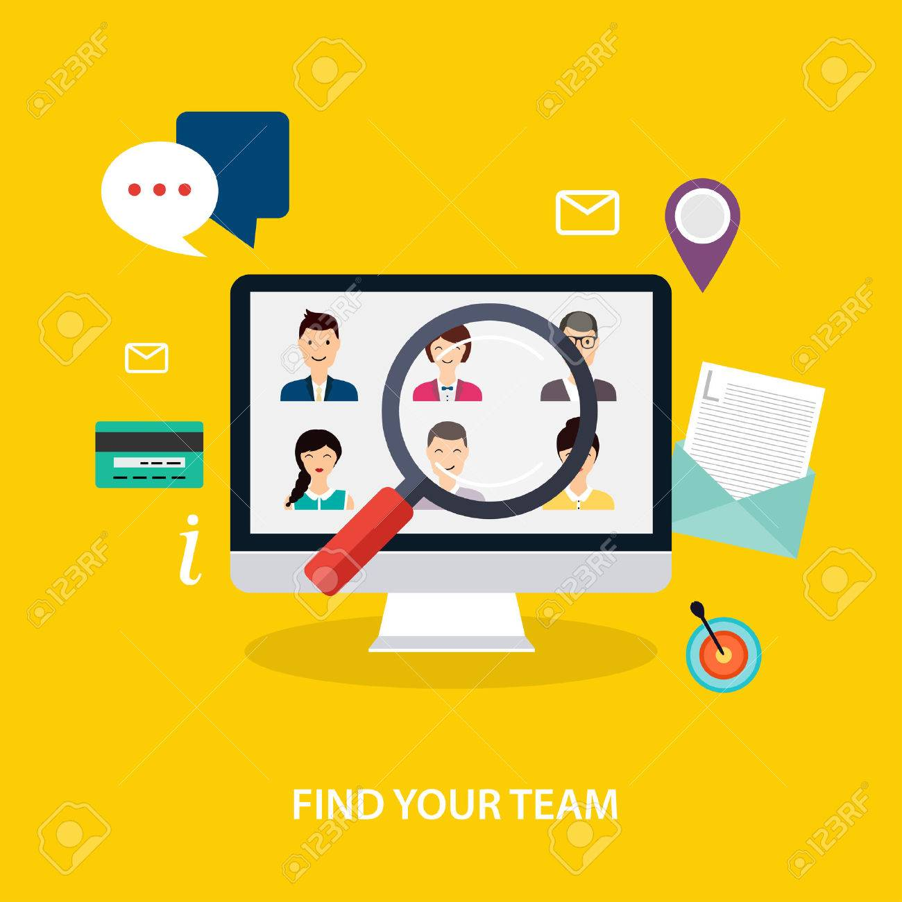 Job Search And Career. Human Resources Management And Head Hunter ...