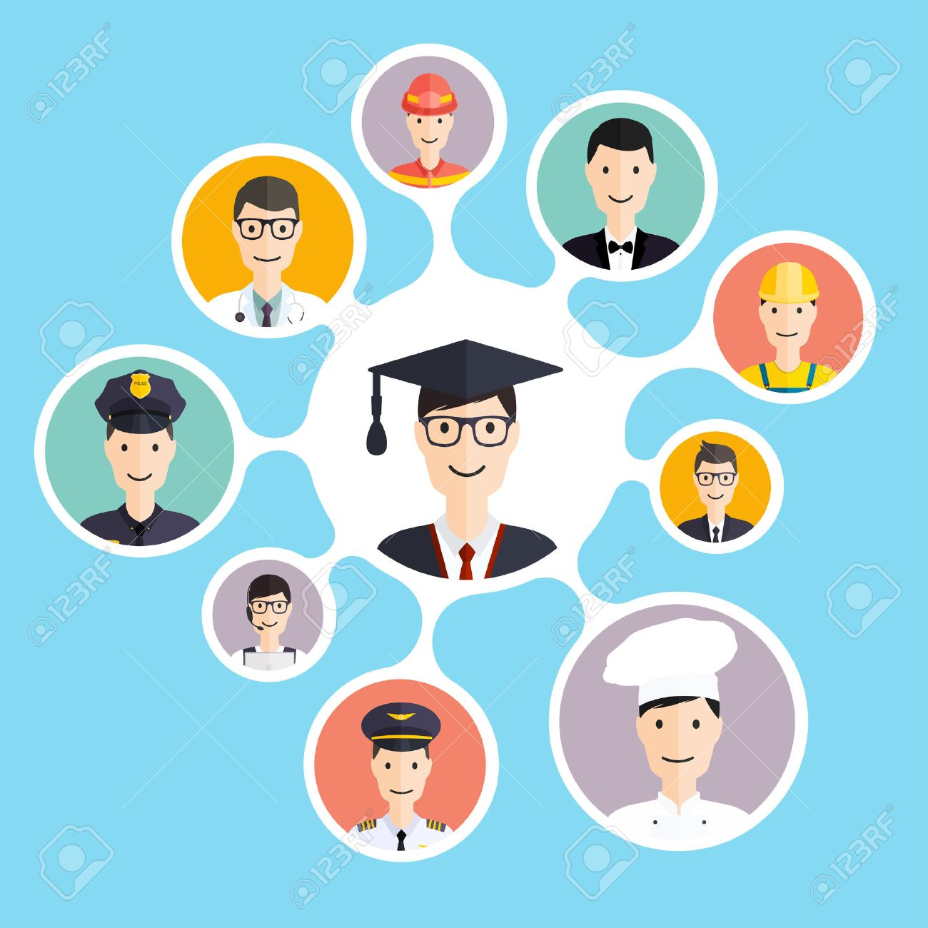 graduation male student make career choices businessman doctor graduation male student make career choices businessman doctor artist designer cook