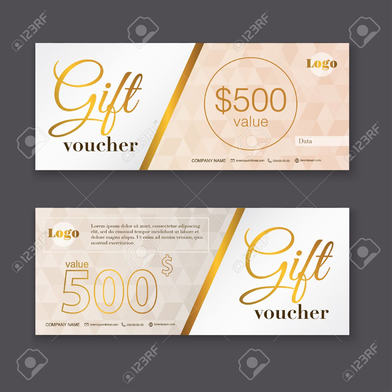 Gift Voucher Template With Gold Pattern Gift Certificate