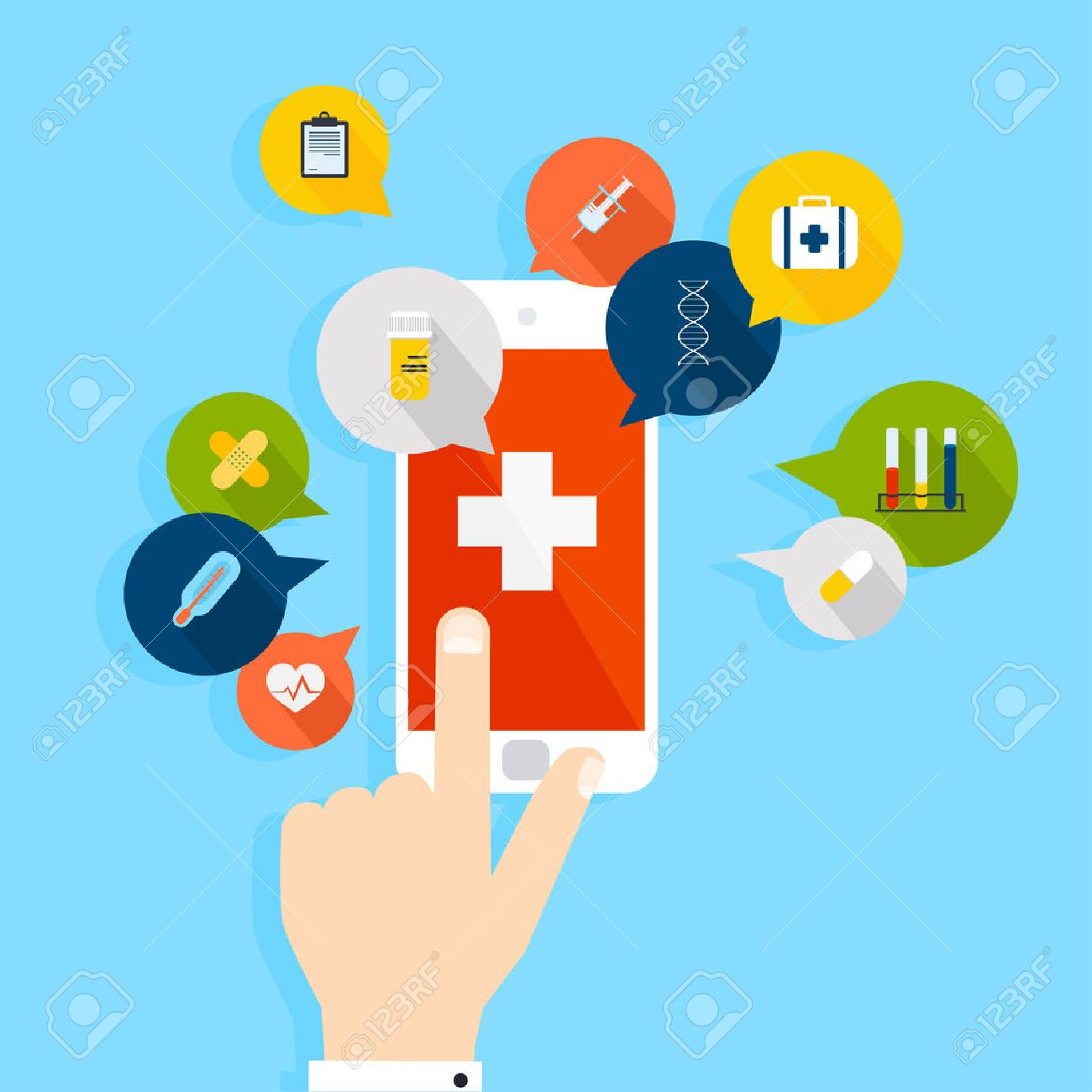 Mobile phone with health application open with hand. Vector modern creative flat design. Vector illustration. Stock Vector - 49501783