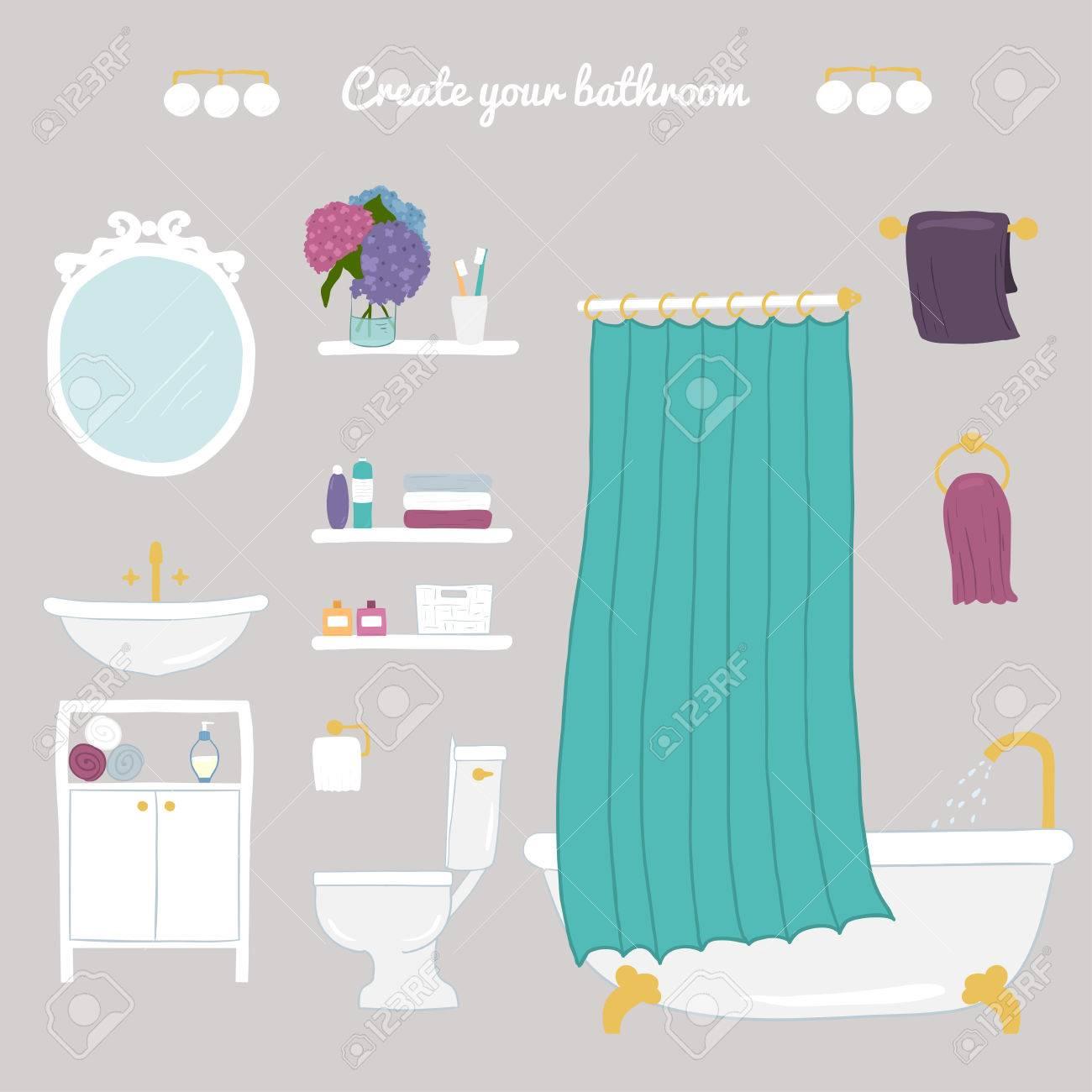 Erstellen Sie Ihr Badezimmer Set Von Vektor Bad Und Korperpflege