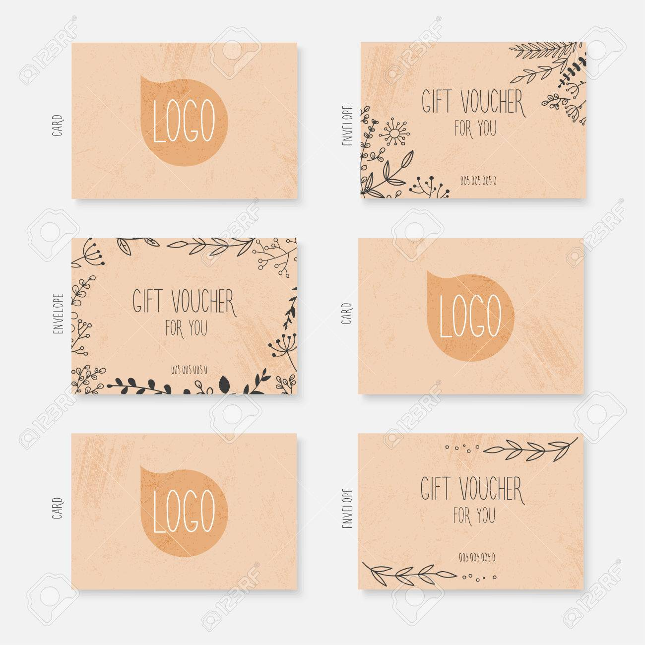 Vector Gift Voucher Card Template With Hand Drawn Leaves Background