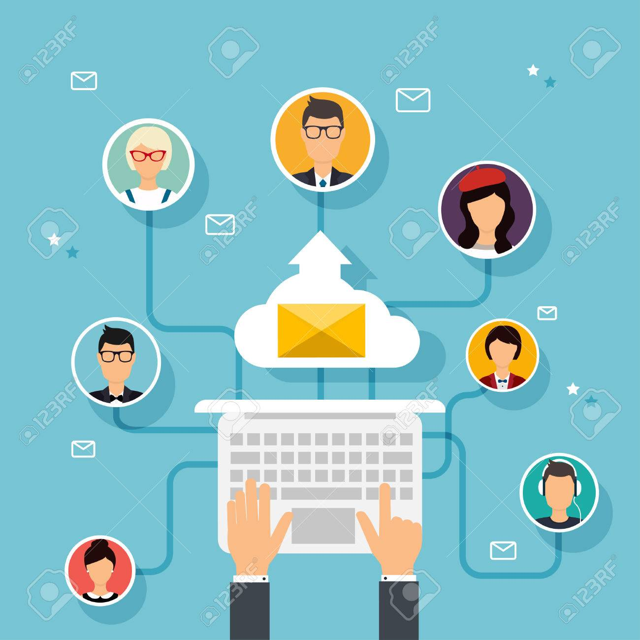 Running campaign, email advertising, direct digital marketing. Email marketing. Set of people avatars and icons. Flat design style modern vector illustration concept. - 51019285