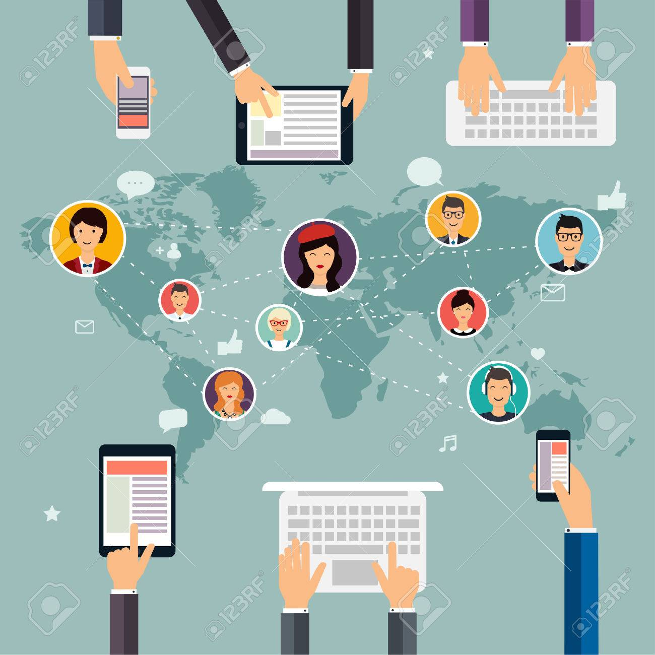 Social network and teamwork concept for web and info graphic. Set of people avatars and icons. Hands holding and using computer, tablet, laptop, smart phone. Communication Systems and Technologies. - 51019286