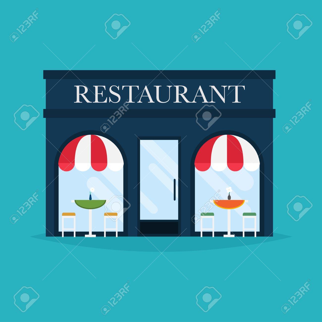 Building cartoon clipart restaurant building and restaurant building - Vector Illustration Of Restaurant Building Facade Icons Ideal For Restaurant Business Web Publications And