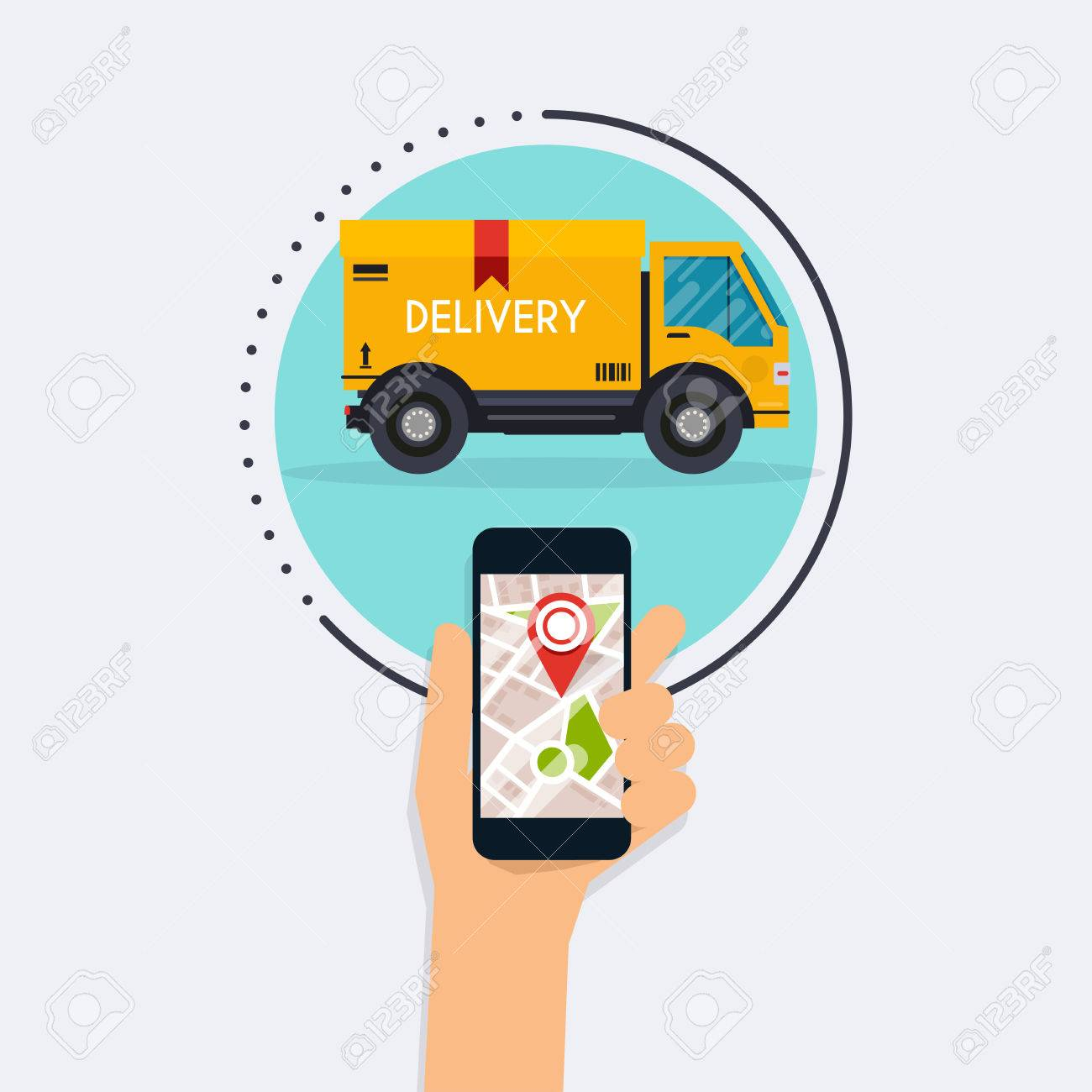 Hand holding mobile smart phone with mobile app delivery tracking
