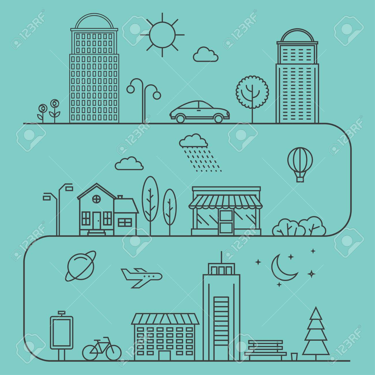 Vector city illustration in linear style. Icons and illustrations with buildings, houses and architecture signs. Ideal for business web publications and graphic design. Flat style vector illustration. - 55550470