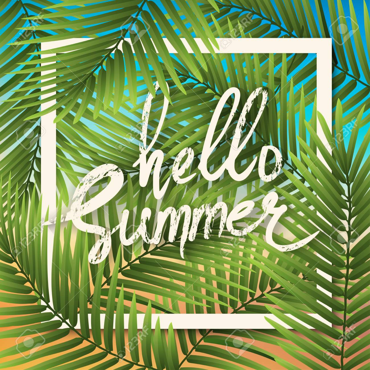 Hello Summer Wallpaper Typographical Background With Tropical