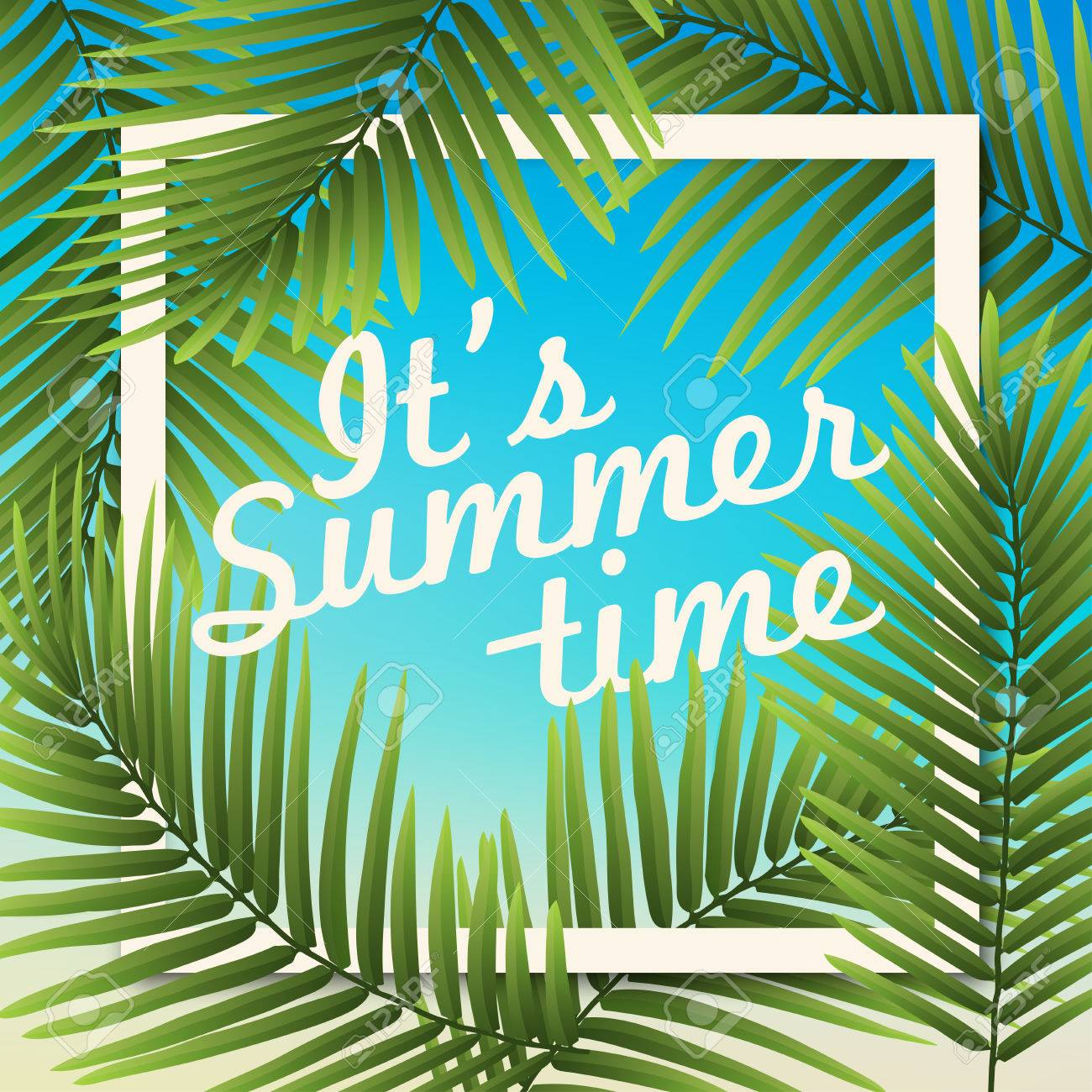 Its Summer Time Wallpaper Typographical Background With Tropical