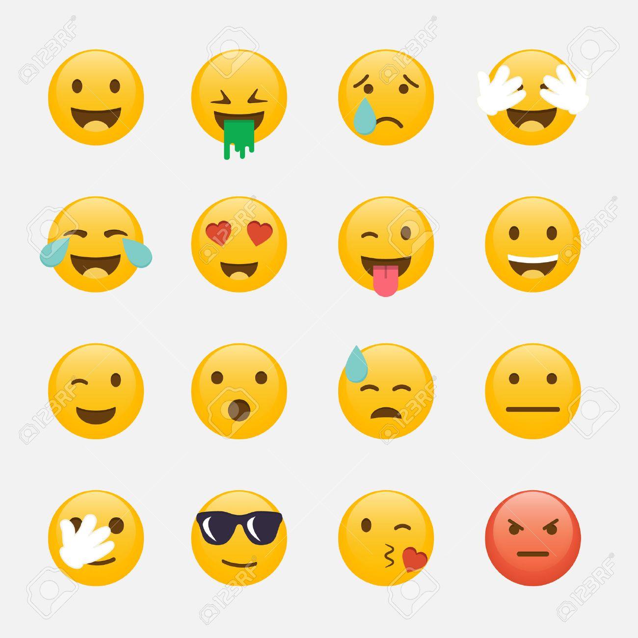 Set of Emoticons. Emoji flat design, avatar design. - 57911492