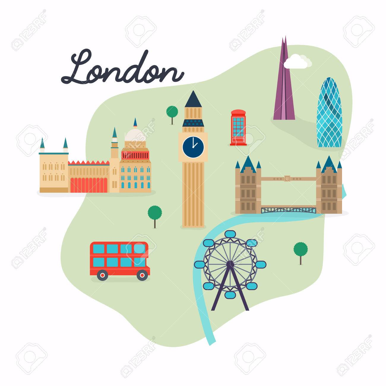 Map Of London With Famous Landmarks.London Travel Map And Vector Landscape Of Buildings And Famous