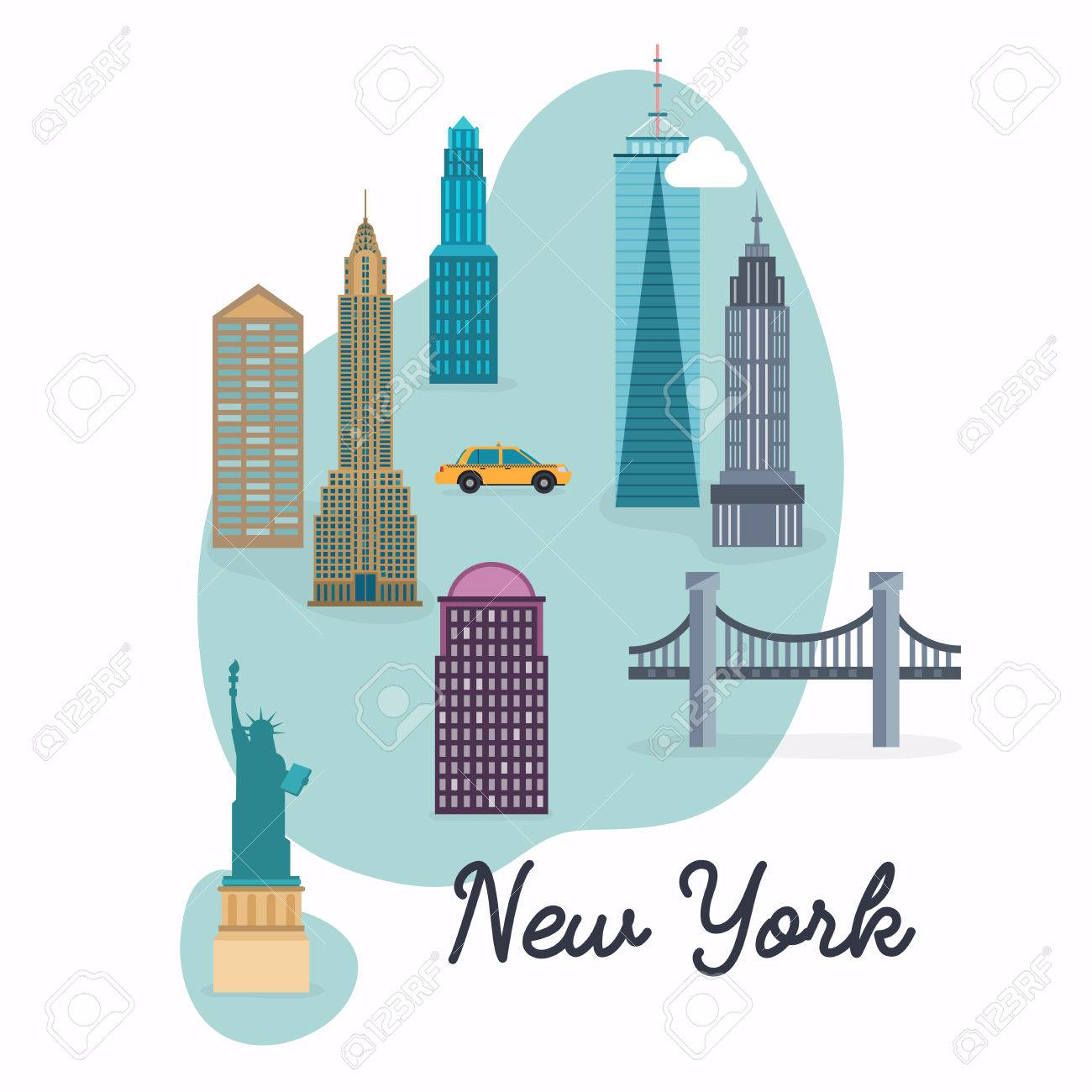 new york city travel map and vector landscape of buildings and famous landmarks vector