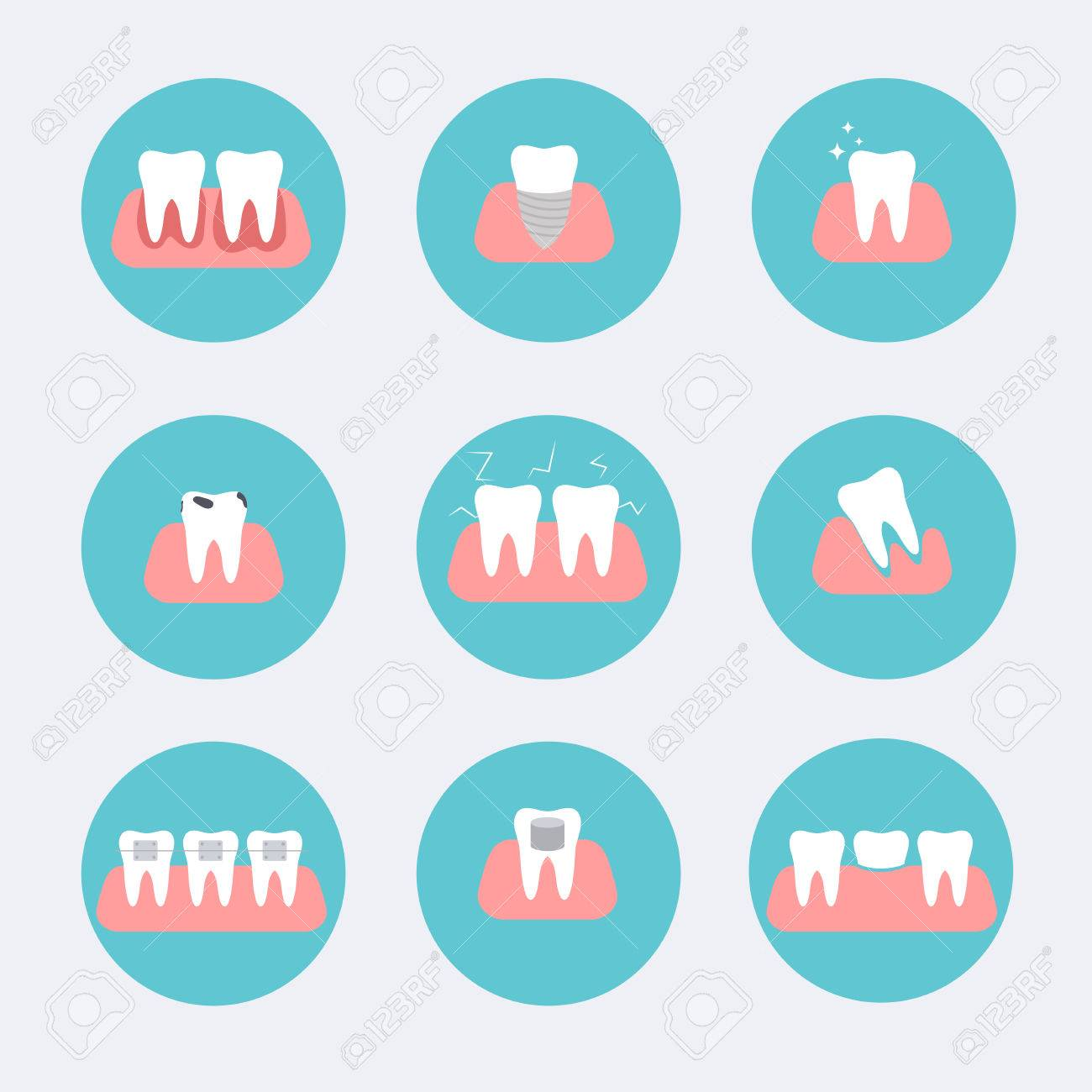 Types Of Dental Clinic Services Stomatology And Procedures Flat Icons Toothcare Vector Illustration